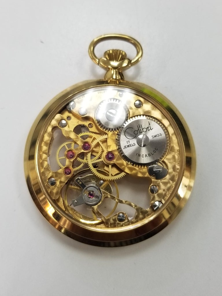 Colibri 17 Jewel Swiss Incabloc Skeleton Pocket Watch In Excellent Condition In Los Angeles, CA