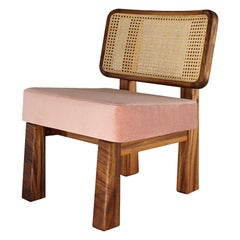 Colima Low Chair Solid Wood and Wicker Back, Contemporary Mexican Design