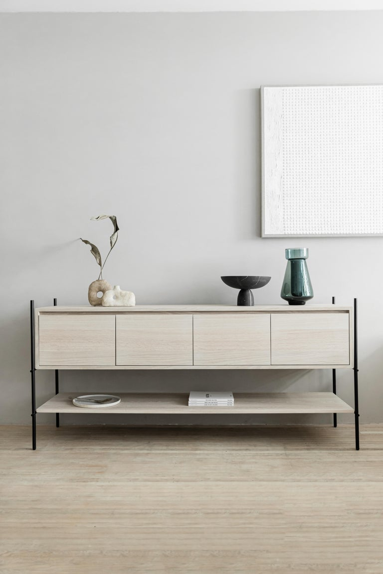 Mexican Colima Steel and White Oak Veneer Credenza For Sale