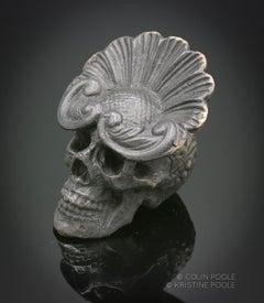 """""""Mardi Gras Talisman Skull"""" Bronze Sculpture"""