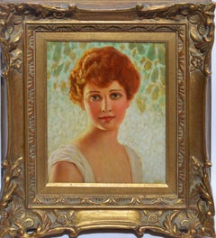 Antique Impressionist Oil Painting Portrait of a Young Woman by Colin Cooper