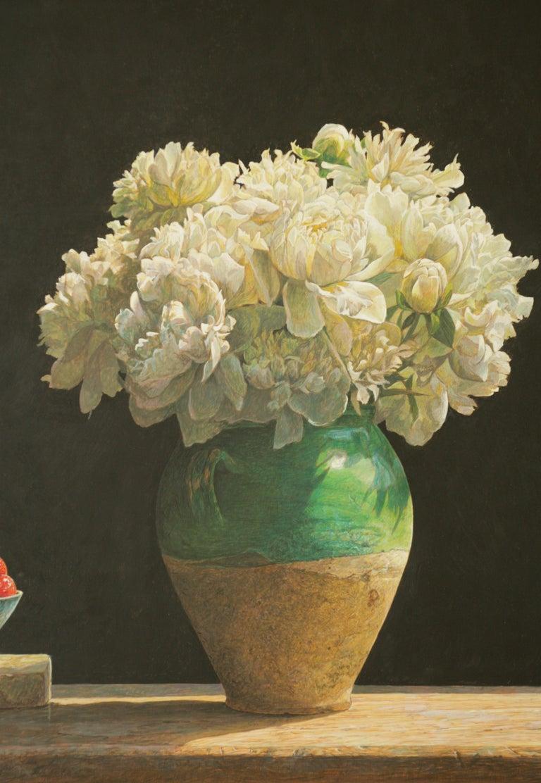 SOLSTICE Colin Fraser Still Life Realist Flowers Fruit Vase Painting Framed For Sale 1