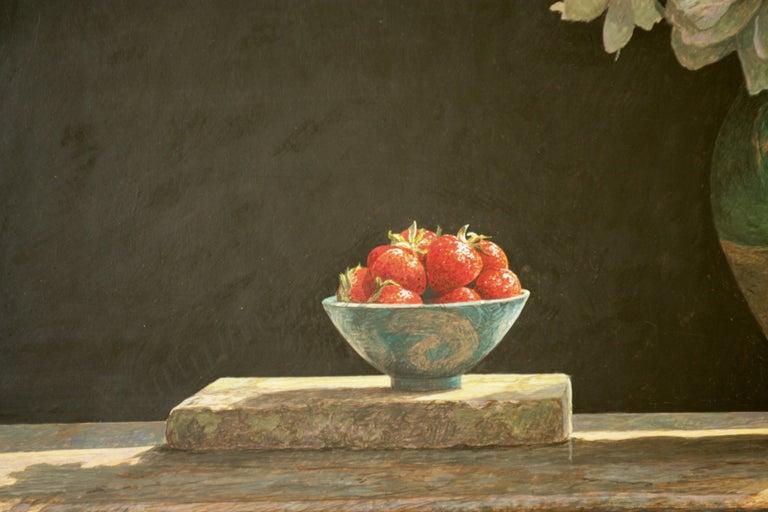 SOLSTICE Colin Fraser Still Life Realist Flowers Fruit Vase Painting Framed For Sale 2