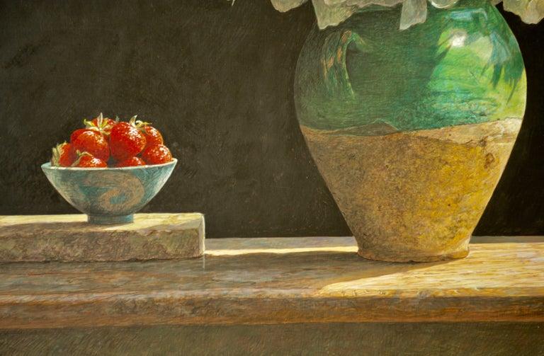 SOLSTICE Colin Fraser Still Life Realist Flowers Fruit Vase Painting Framed For Sale 3