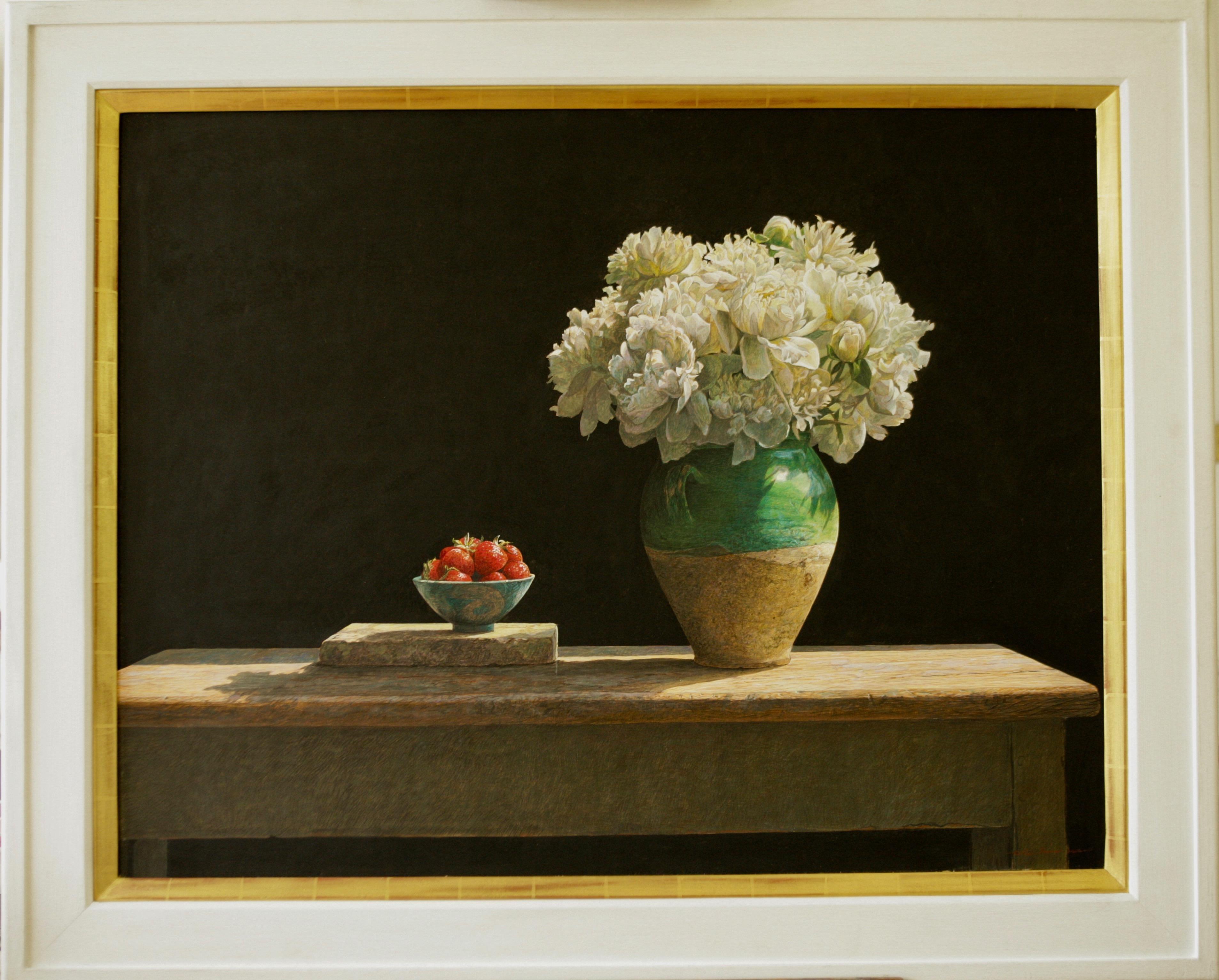 SOLSTICE Colin Fraser Still Life Realist Flowers Fruit Vase Painting Framed