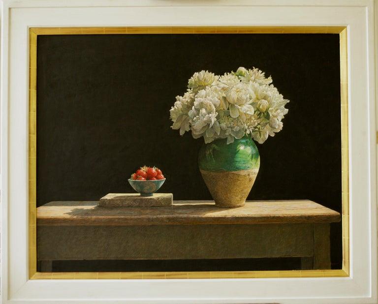 SOLSTICE Colin Fraser Still Life Realist Flowers Fruit Vase Painting Framed - Black Still-Life Painting by Colin Fraser