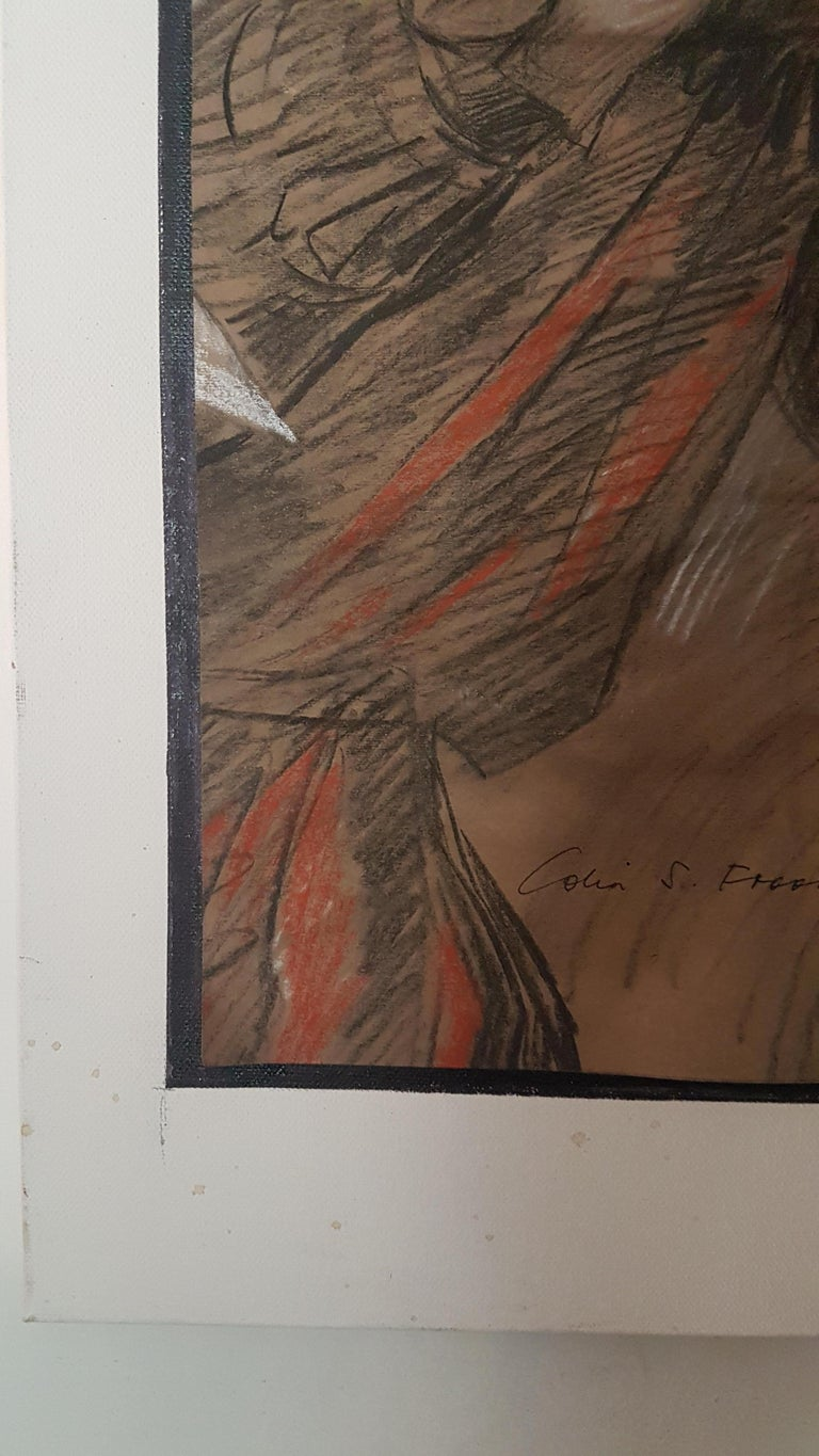 Painted Colin Frooms Pastel on Paper of Carnival Figure For Sale