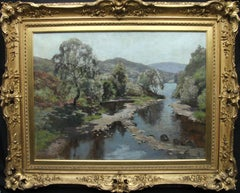 Scottish River Landscape - Impressionist 20s exhibited art oil painting Scotland