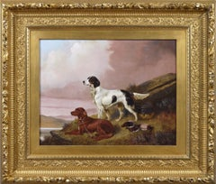 19th Century sporting dog oil painting of an English & Red setter with game