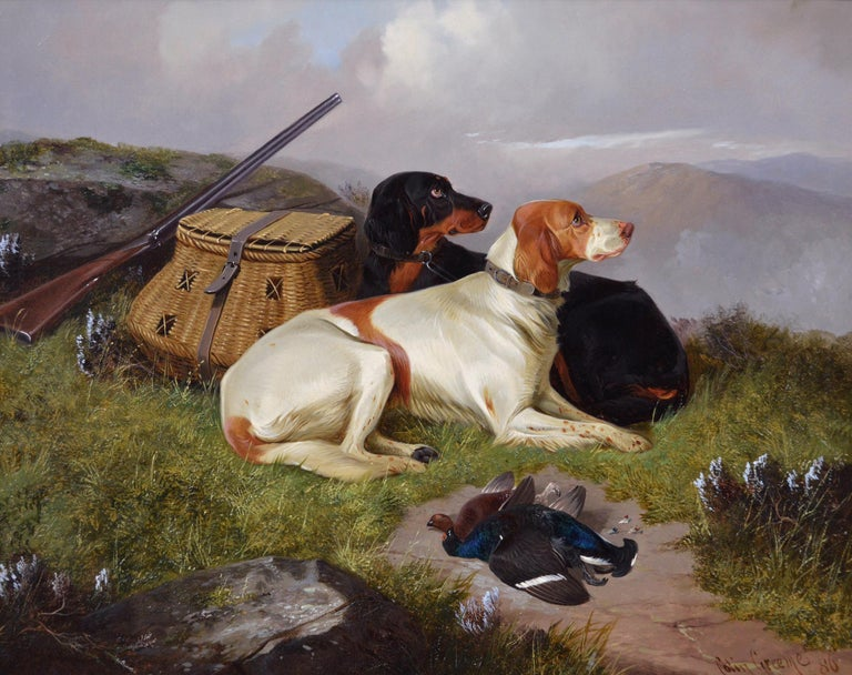 19th Century sporting dog oil painting of setters with game - Painting by Colin Graeme Roe