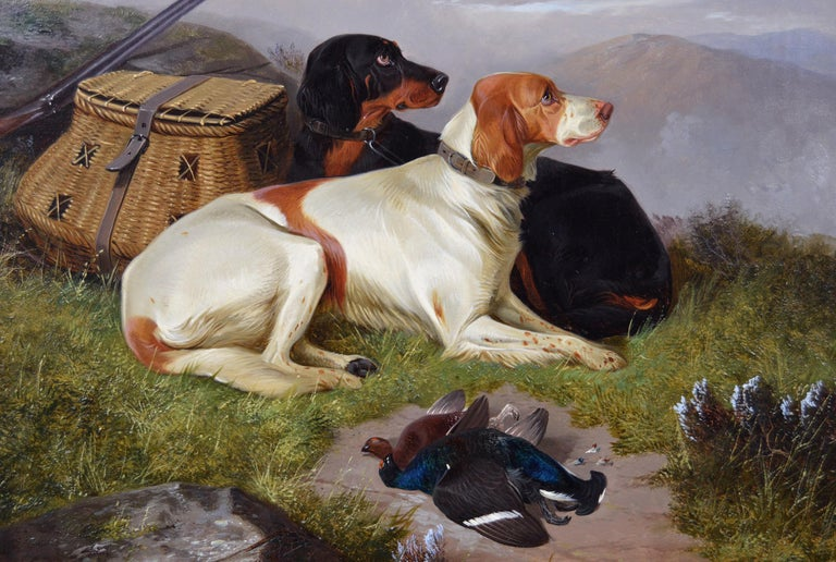 19th Century sporting dog oil painting of setters with game - Victorian Painting by Colin Graeme Roe