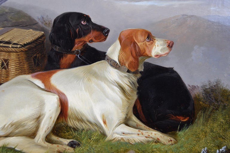 19th Century sporting dog oil painting of setters with game - Brown Animal Painting by Colin Graeme Roe