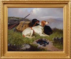 19th Century sporting dog oil painting of setters with game