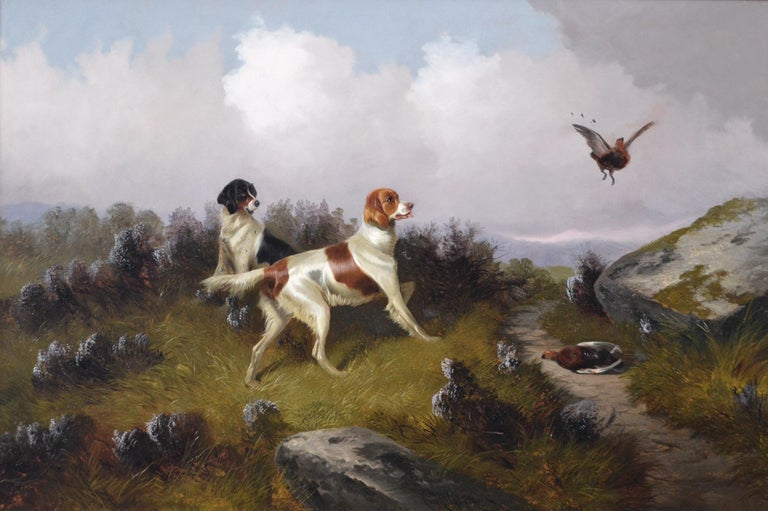 19th Century sporting dog oil painting of setters with grouse  - Painting by Colin Graeme Roe