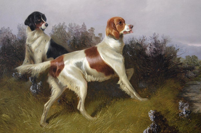 19th Century sporting dog oil painting of setters with grouse  - Victorian Painting by Colin Graeme Roe
