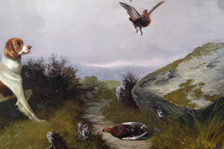 19th Century sporting dog oil painting of setters with grouse  - Brown Animal Painting by Colin Graeme Roe