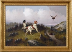 19th Century sporting dog oil painting of setters with grouse