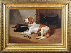Dog portrait oil painting of a setter & game