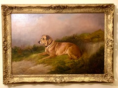 English Antique Victorian portrait of a Labrador retriever dog in a landscape