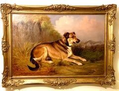 English late Victorian Antique portrait of a seated hound dog in a landscape