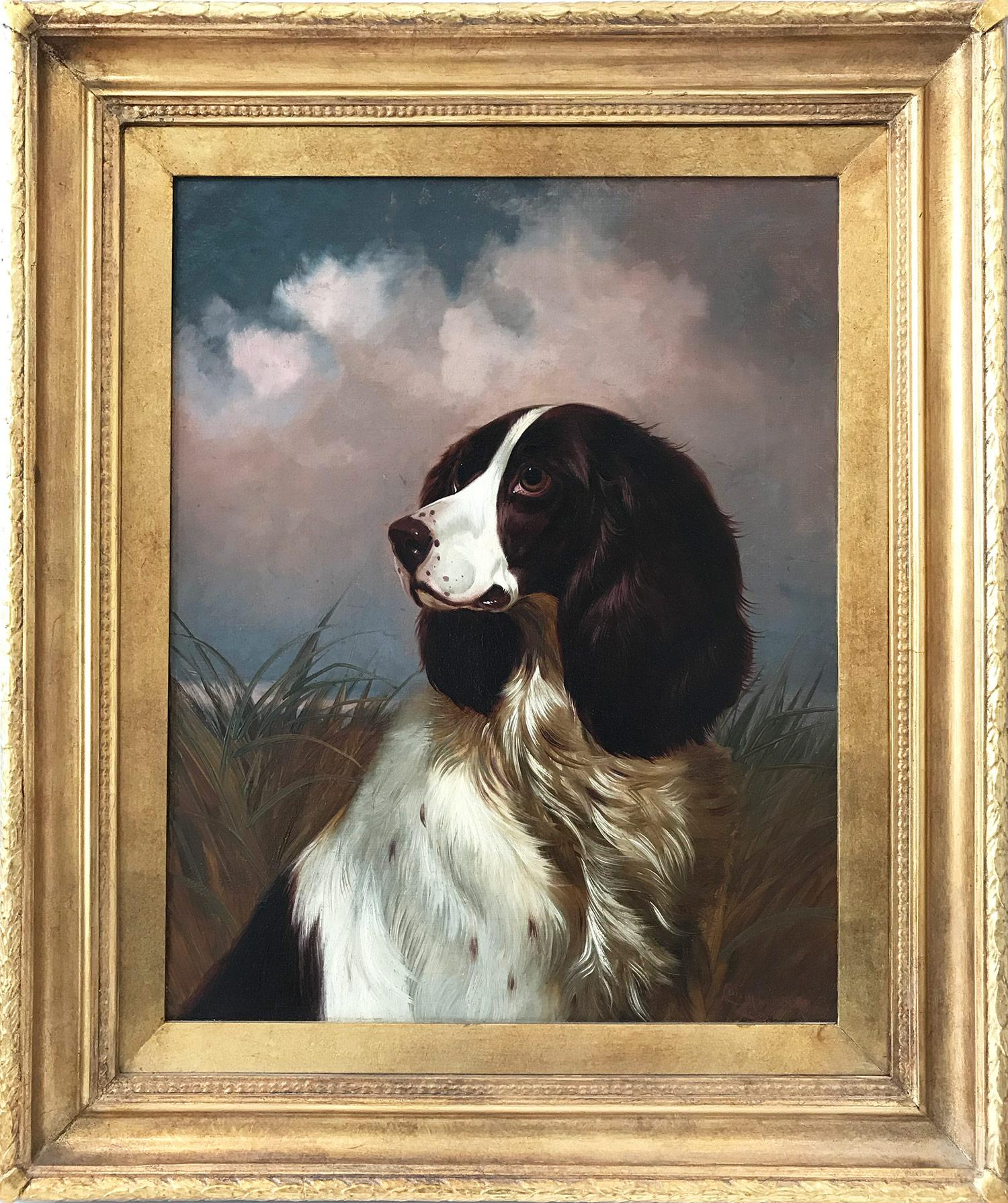 """""""Setter"""" 19th Century Portrait of a Setter Dog with Cloudy Background in Brushes"""