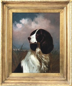 """Setter"" 19th Century Portrait of a Setter Dog with Cloudy Background in Brushes"