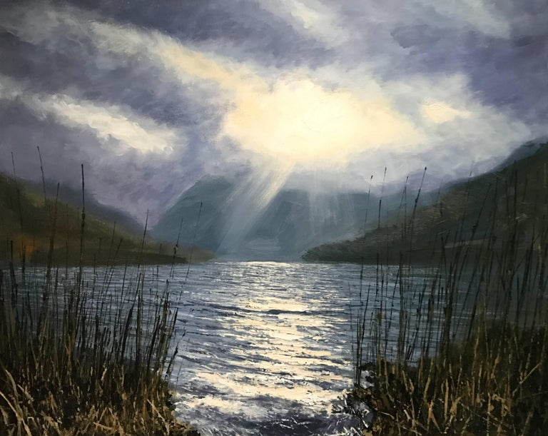 Colin Halliday Figurative Painting - Buttermere Lake District Landscape Oil Painting by British En Plein Air Artist