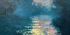 English River Morning Sun Blue Pink Oil Painting by British En Plein Air Artist