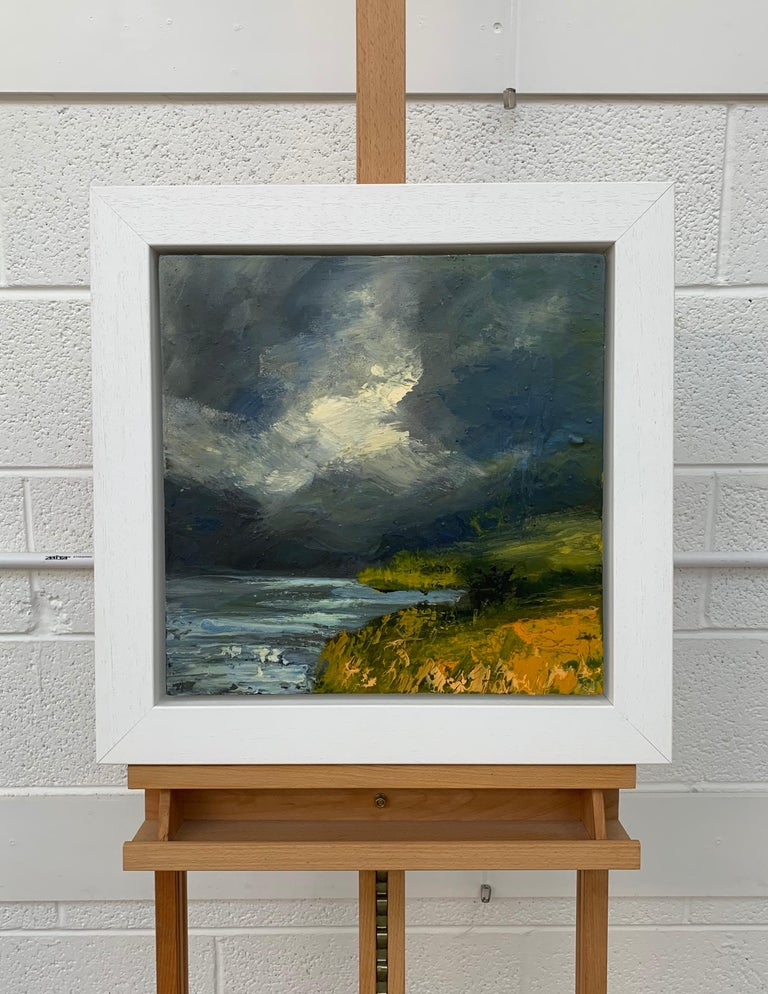 Impasto Oil Painting of Crummock Water in the English Lake District by British Landscape Artist Colin Halliday. This painting articulates the intensity of the clouds in Northern England, and the aesthetic beauty of the dramatic weather as it sweeps