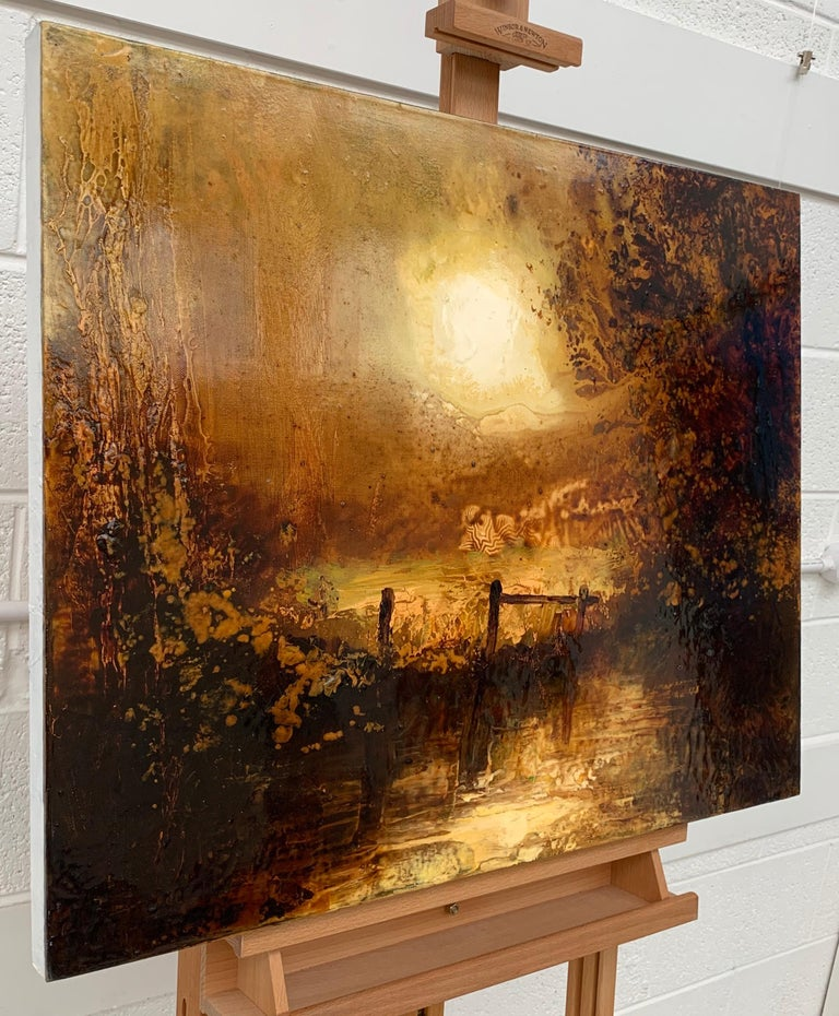 Impressionistic English River Landscape Original Oil Painting En Plein Air Art For Sale 1