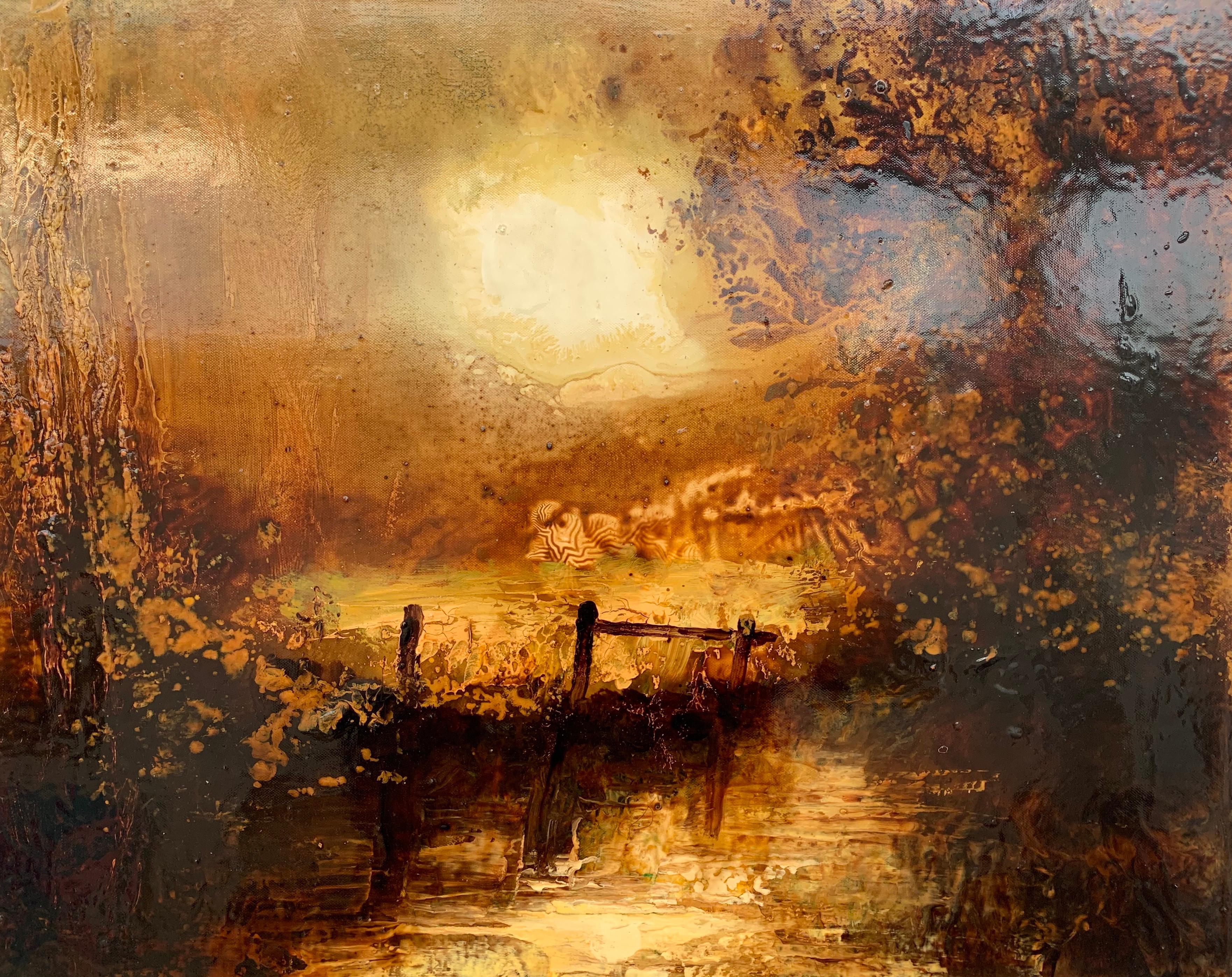 Impressionistic English River Autumn Winter Landscape Original Oil Painting