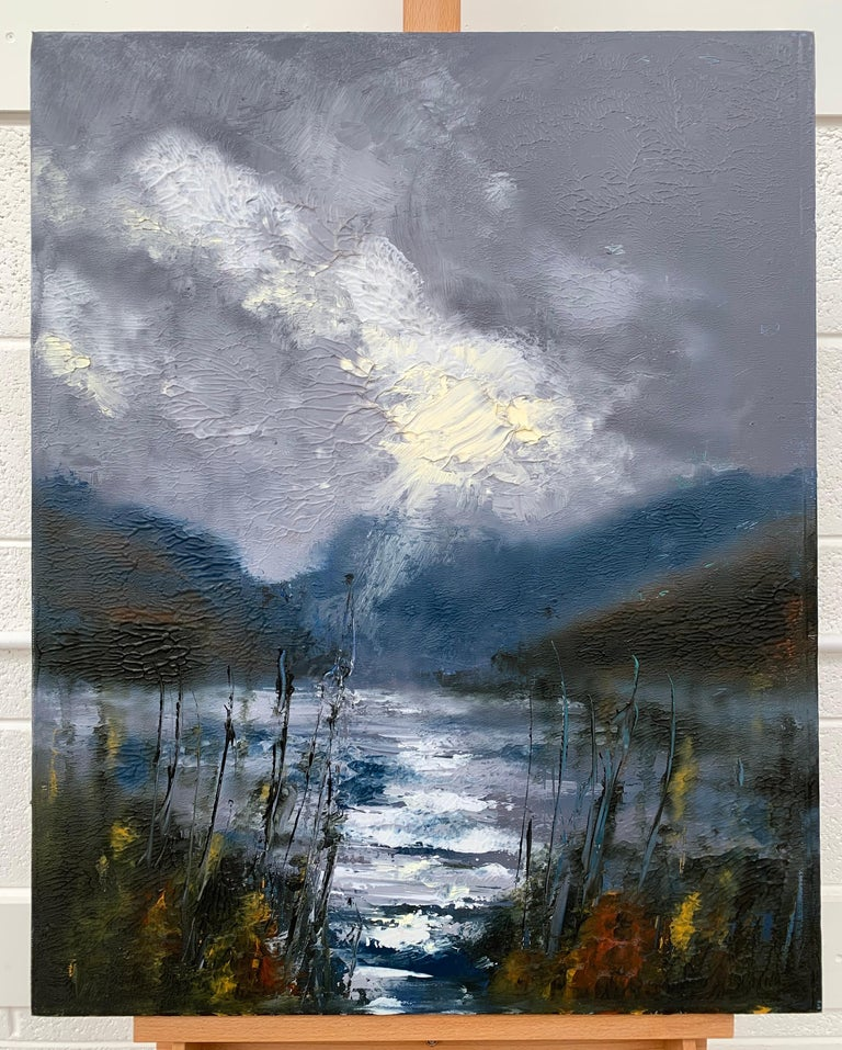 Passing Storm Buttermere Lake District Landscape Oil Painting by British Artist - Gray Landscape Painting by Colin Halliday
