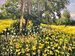 Rapeseed Field Impasto Landscape Oil Painting by British En Plein Air Artist
