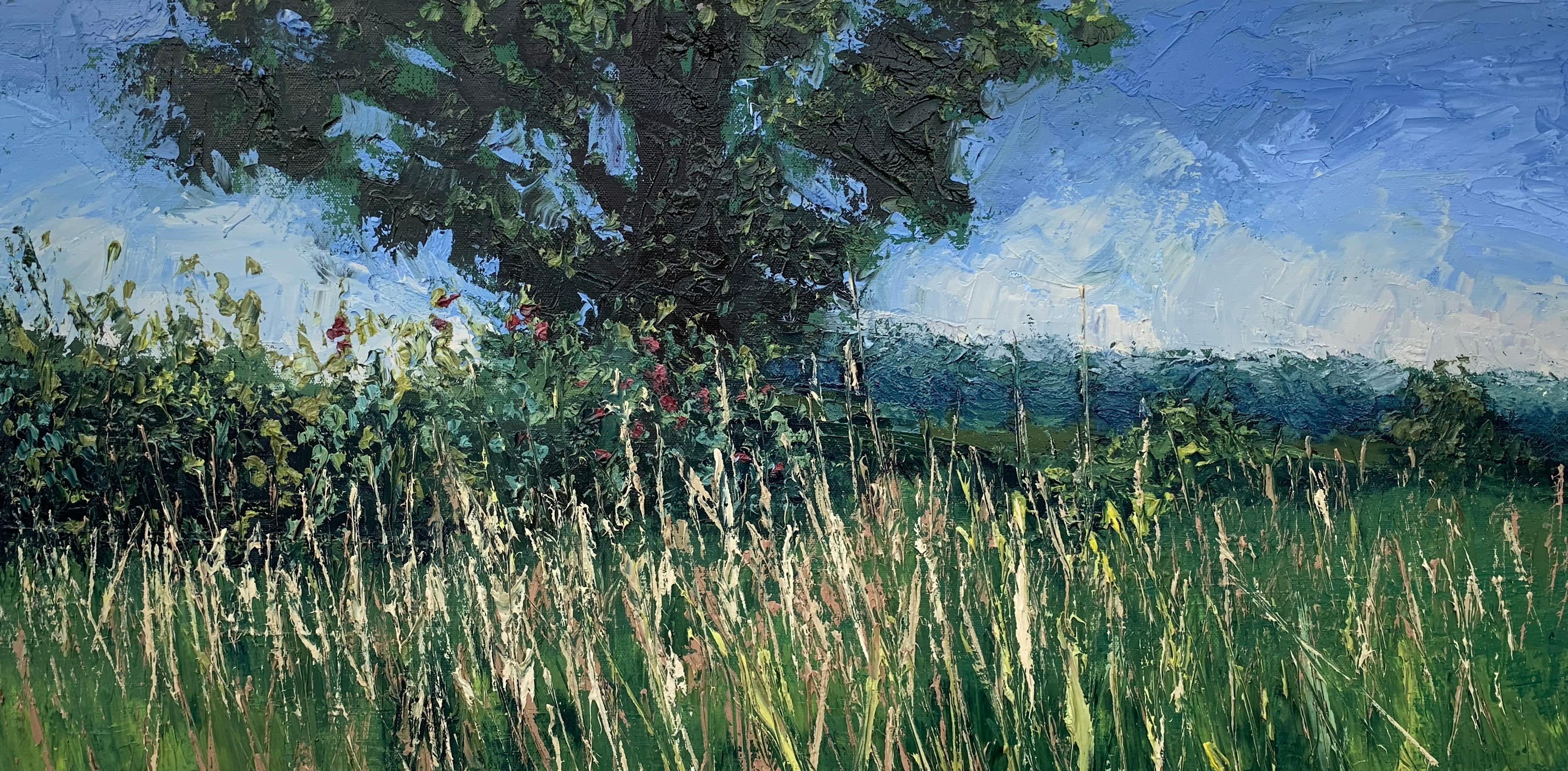 Summer Meadow Landscape Impasto Oil Painting with Tree by British Artist