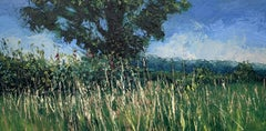 Summer Meadow Landscape Oil Painting with Tree by British En Plein Air Artist