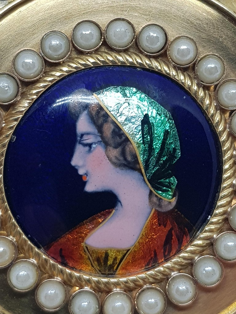 Colladon A. Geneve Antique Turquoise Baby Pearls Enamel Gold Pocket Watch For Sale 7