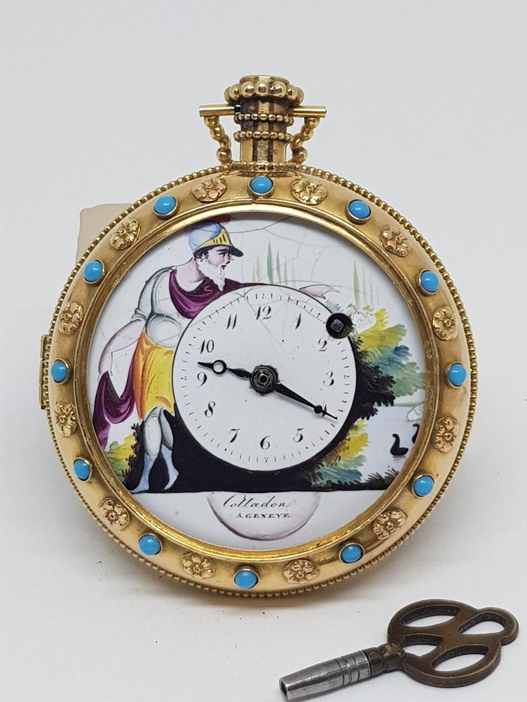 Colladon A. Geneve Antique Turquoise Baby Pearls Enamel Gold Pocket Watch For Sale 10