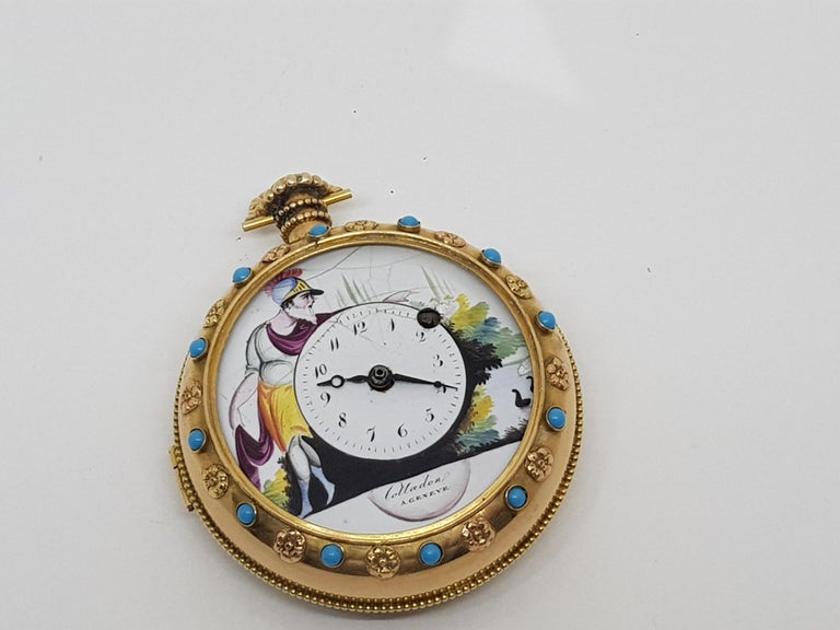 Colladon A. Geneve Antique Turquoise Baby Pearls Enamel Gold Pocket Watch For Sale 13