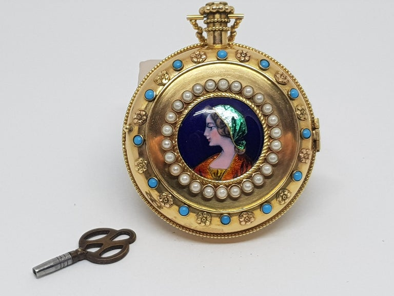 Colladon A. Geneve Antique Turquoise Baby Pearls Enamel Gold Pocket Watch For Sale 14