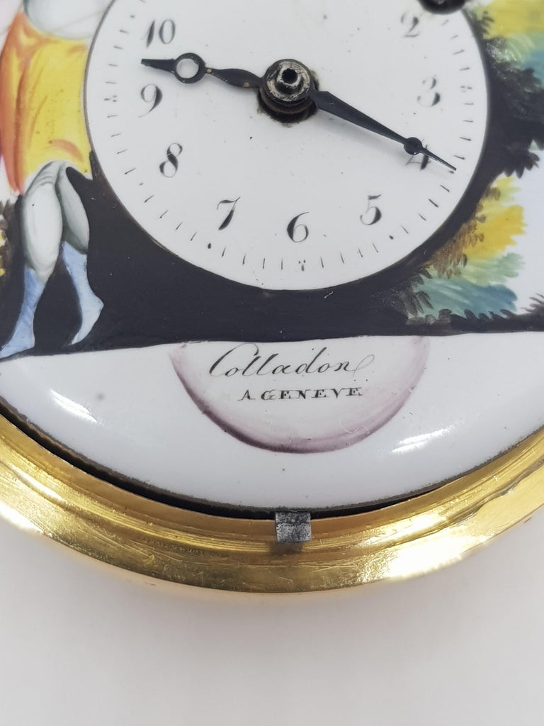 Colladon A. Geneve Antique Turquoise Baby Pearls Enamel Gold Pocket Watch For Sale 2