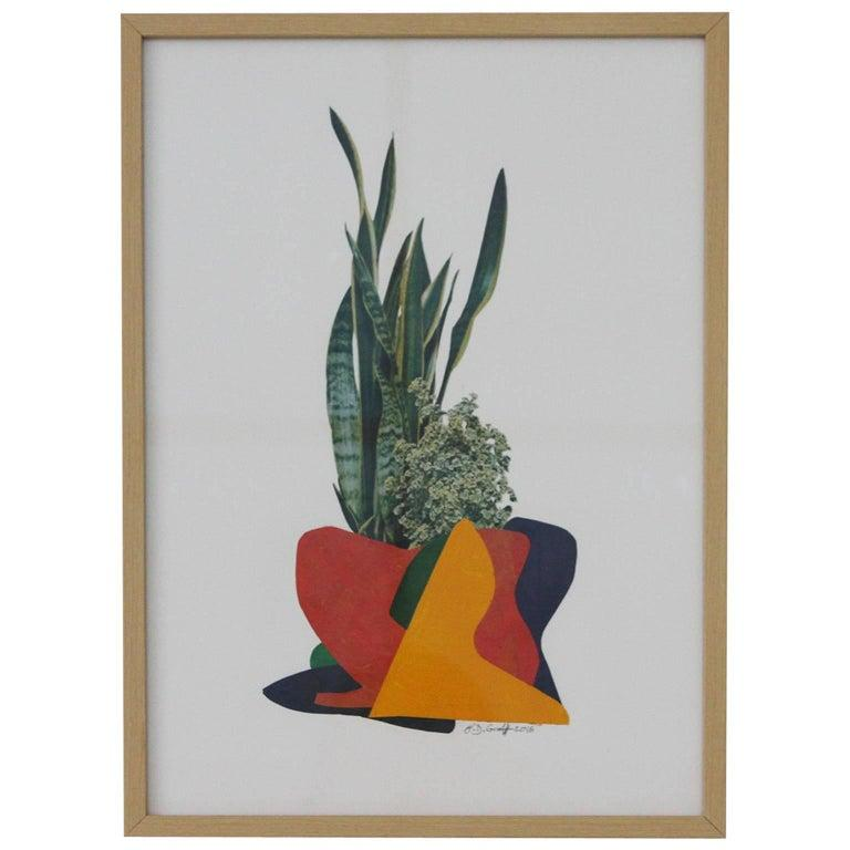 Paper collage by German artist B.D. Graft framed in museum glass and natural oak frame.