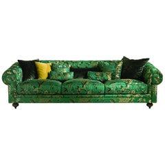 Collage/Chester 3-Seat Sofa in Silkbird Jacquard Green by Ferruccio Laviani