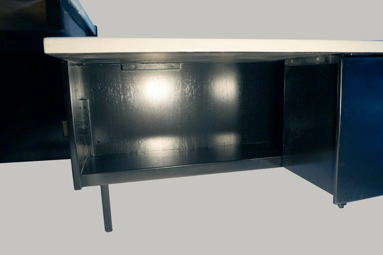 Collaged Mid-Century Modern L-Shaped Black Lacquered Desk by Jens Risom For Sale 3