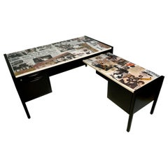 Collaged Mid-Century Modern L-Shaped Black Lacquered Desk by Jens Risom