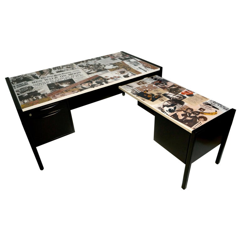 Collaged Mid-Century Modern L-Shaped Black Lacquered Desk by Jens Risom For Sale