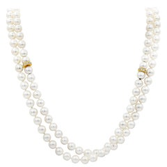 Roman Malakov Collapsible Multi-Strand Diamond and Pearl Necklace