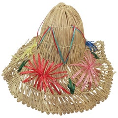 Collapsible Straw Resort Wear Beach Hat, 1950's