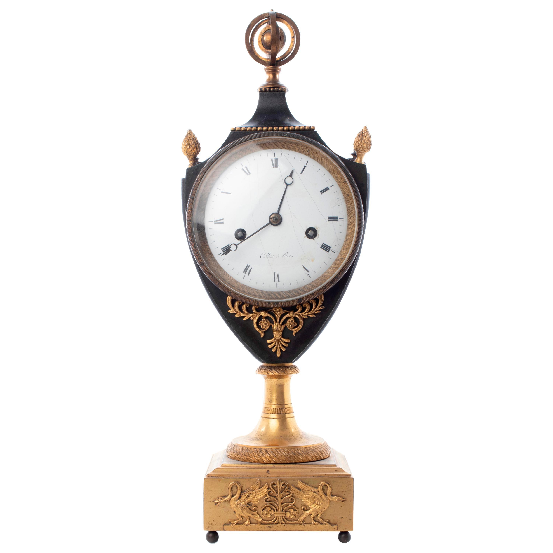 Collas French Empire Gilt Bronze Mantel Clock