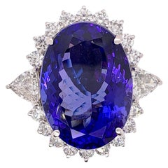 Collectable 50 Carat Tanzanite and Diamond Cocktail Dinner Ring