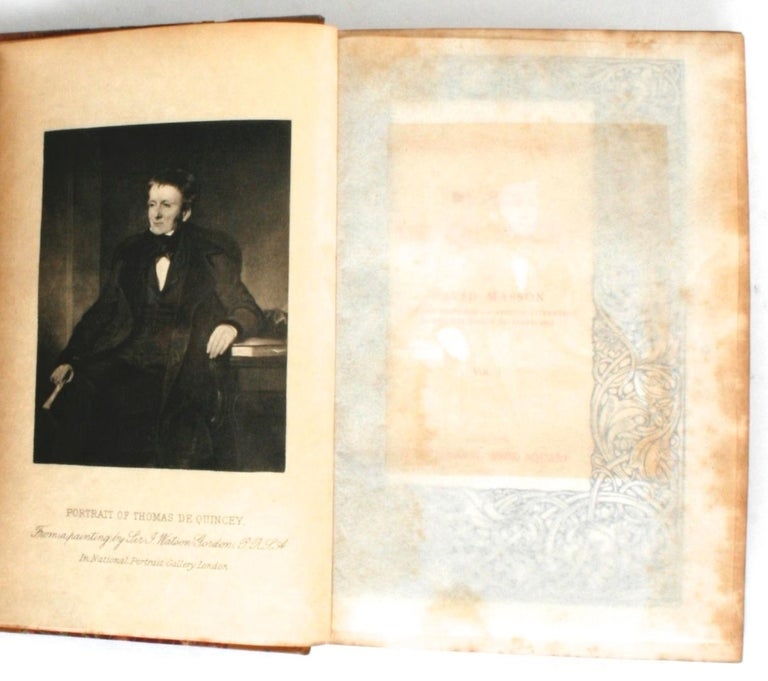 The Collected Writings of Thomas De Quincey in 14 Volumes by David Masson. London: A. & C. Black, 1896. Calf leather and marbled paper bound gilt hardcovers with gilt top edges. A complete set of antique leather bound books of the collected writings